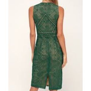 Bardot Dresses - NWT Bardot EVE DARK GREEN LACE SHEATH MIDI DRESS